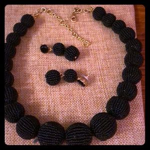J Crew Factory black beaded necklace & earrings